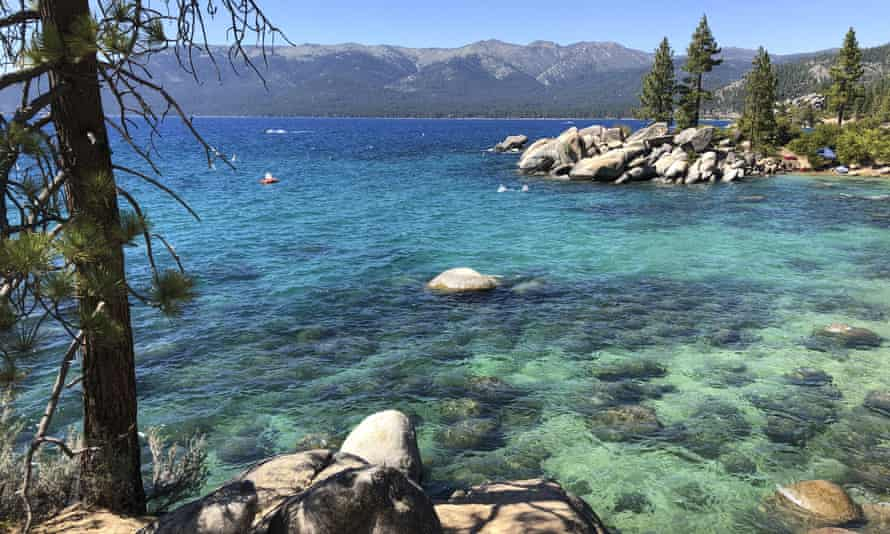 A stretch of Lake Tahoe's north-east shore looking north from Sand Harbor toward Incline Village, Nevada, 13 July 2020.