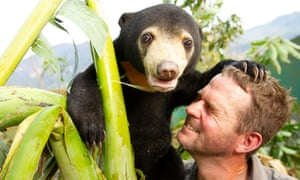 Mary the sun bear with Giles Clark in Bears About the House, BBC Two.