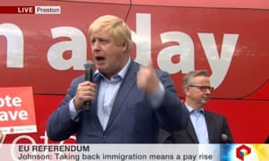 Boris Johnson speaking in Preston.