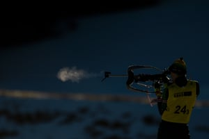 Australia's Christian Mahon warms up prior to the mixed relay in biathlon at Les Tuffes Nordic centre.