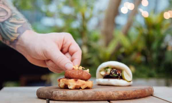 Eat Just's nugget, made from lab-grown chicken meat, at a restaurant in Singapore, 2020.