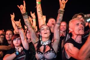 Fans salute the rock legend Alice Cooper at the 20th Fezen festival in Székesfehérvár, Hungary