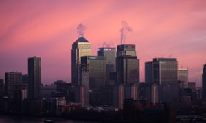 The Canary Wharf financial district in London