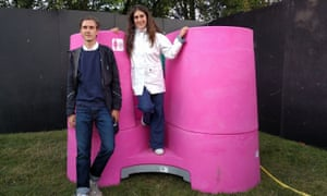 Gina Périer and Alexander Egebjerg with their Lapee unit at Roskilde festival.