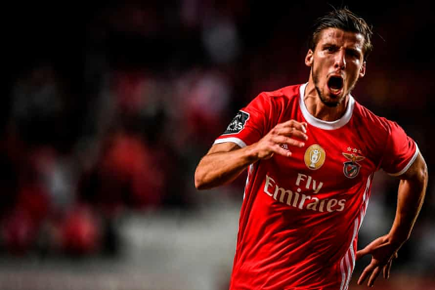 Rúben Dias celebrates after scoring for Benfica against Rio Ave last November.