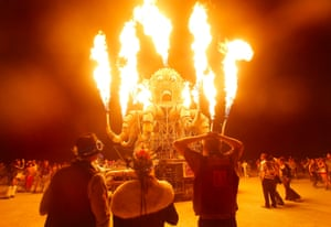 Art installation El Pulpo Mecanico warms up night-time revellers at Burning Man, the madcap arts and music festival staged each year in Nevada's Black Rock desert.
