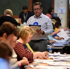 A Conservative party observer at the count for Yorkshire and Humber at Leeds town hall