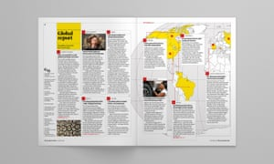 A spread from the new Global Report pages in The Guardian Weekly