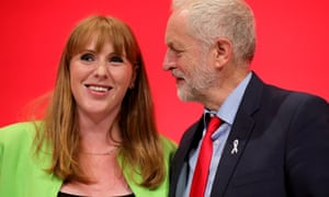 Shadow Education Secretary Angela Rayner is congratulated by Labour leader Jeremy Corbyn after her speech at the party conference.