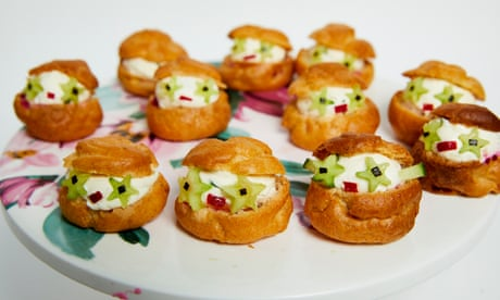 Savoury spicy beetroot, salmon and chive cheese choux people