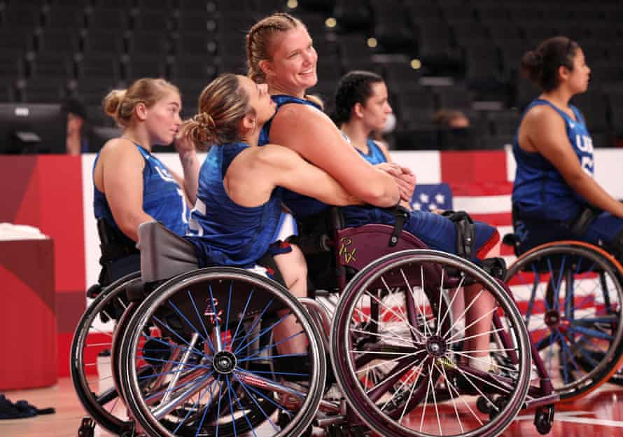 Darlene Hunter and Rose Hollermann celebrate the medal late on in the game against Germany.