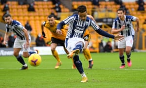 Matheus Pereira of West Bromwich Albion opens the scoring from the spot.