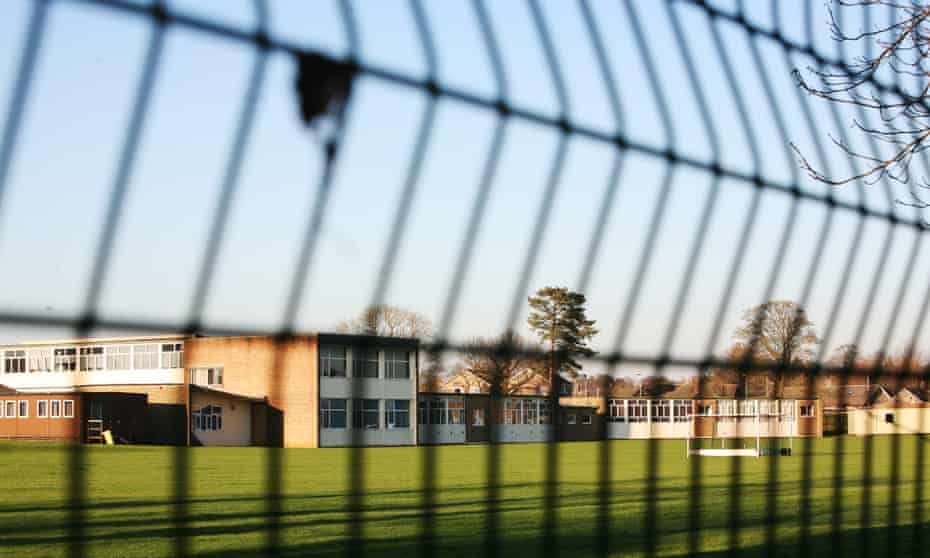 Easingwold school seen through fence on sunny day