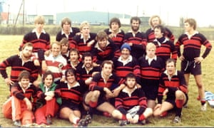 The Indiana University rugby team in 1979, Mark Cuban third from left on the front row.