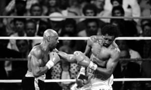 Marvin Hagler, who died this week, in action against Tommy Hearns in 1985.