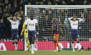 Tottenham's Harry Kane, left, and Dele Alli, right, react after teammate Erik Lamela missed a chance to score