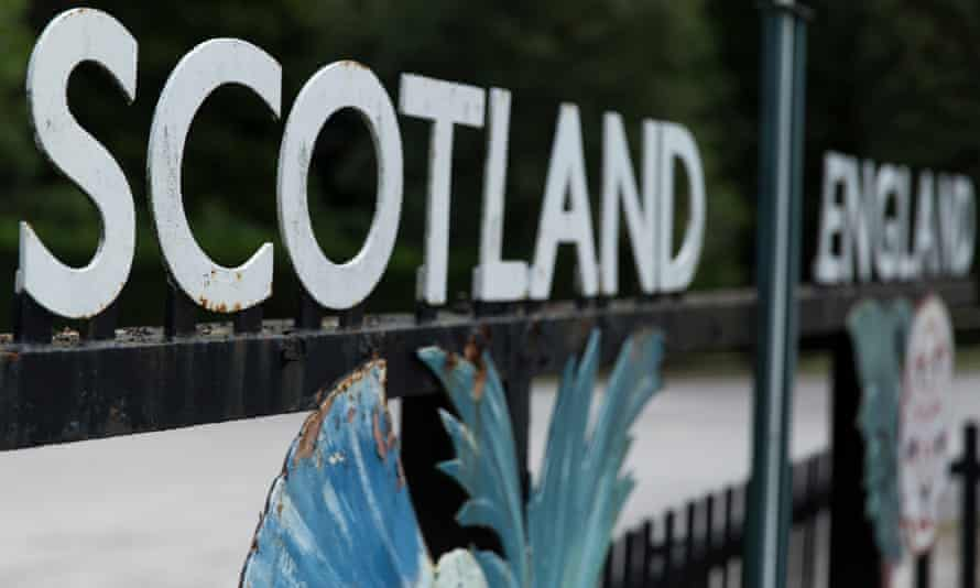 An old Scotland and England border sign