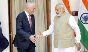 Indian PM Narendra Modi shakes hands with Malcolm Turnbull