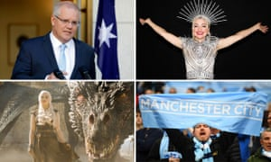 Australia's federal election is taking place on a packed weekend. L-R: Scott Morrison, Eurovision hopeful Kate Miller-Heidke, Game of Thrones' Emilia Clarke and a Manchester City FC fan