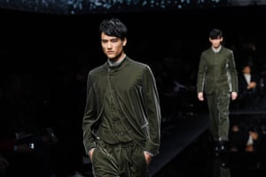 Models in green velvet Nehru suits
