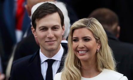 Ivanka Trump and husband Jared Kushner arrive at inauguration ceremonies swearing in Donald Trump as president.