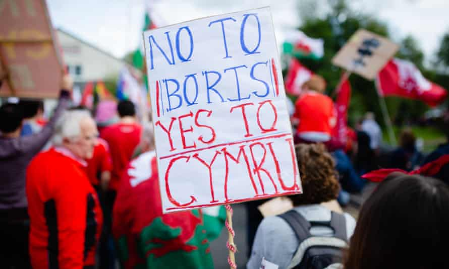 Welsh independence rally in Merthyr Tydfil, Wales, in 2019.