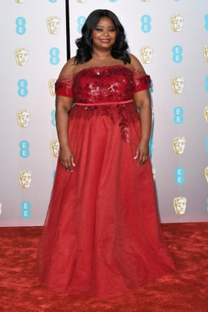"""Octavia Spencer proving that the old adage, 'never wear red on the red carpet"""" is tosh"""