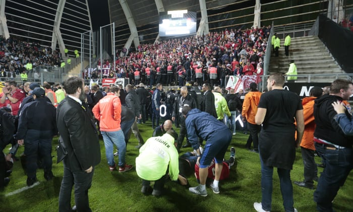 Amiens V Lille Abandoned After Barrier Collapses Injuring 20 Supporters Football The Guardian