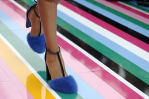 Milan, Italy: A model in furry shoes designed by Salvatore Ferragamo during Milan fashion week