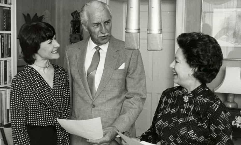 Princess Margaret (right) making a guest appearance as herself during a recording The Archers in 1984. She is pictured with Sara Coward, who played Caroline Sterling/Bone, and Arnold Peters, who played Jack Woolley for 31 years.