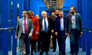 Boris Johnson arrives ahead of his speech at the conference.