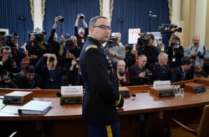 Lt Col Alexander Vindman arrives to testify before the House intelligence committee on Tuesday.