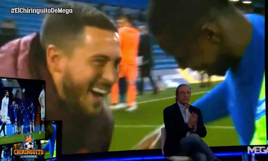 Josep Pedrerol rails against Eden Hazard on his El Chiringuito TV show, complete with brooding music and dramatic pauses.