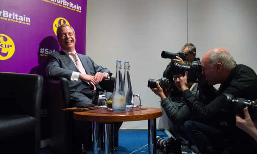 Nigel Farage laps up the cameras after giving a speech on immigration at a campaign event in London today.