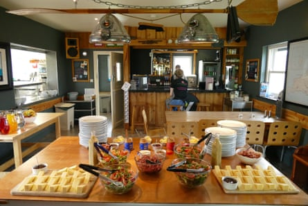 Food on table at Ecolodge, Preseli Venture, Wales