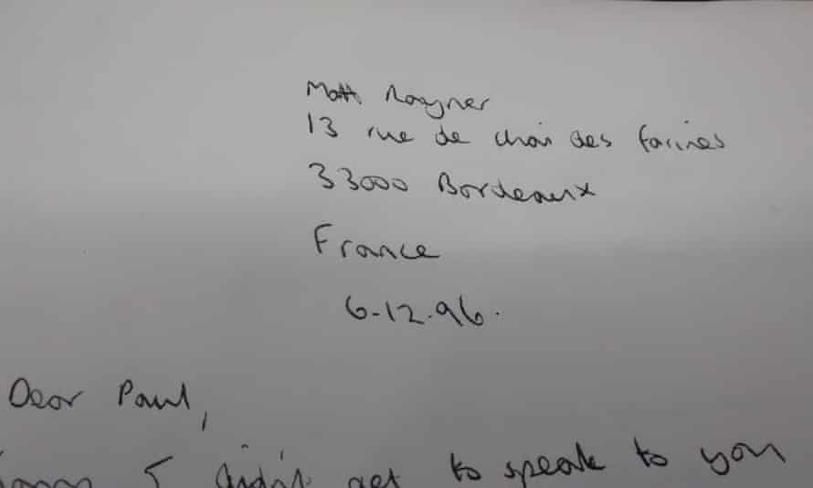One of the letters sent from France by Matt Rayner.