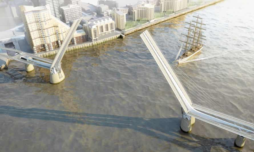 Bascule bridge … the deck would open in the middle to allow tall ships to pass through. Image: Reform Architects / Elliott Wood