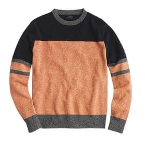 orange dark blue and grey panelled jumper JCrew