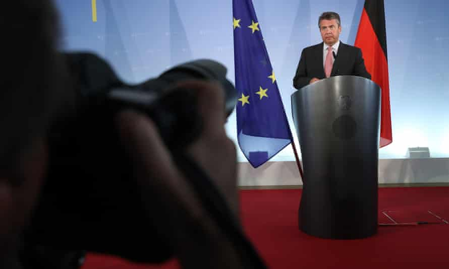 The German foreign minister, Sigmar Gabriel, speaks to the media after the arrest in Turkey of another German citizen on charges of supporting terrorism.