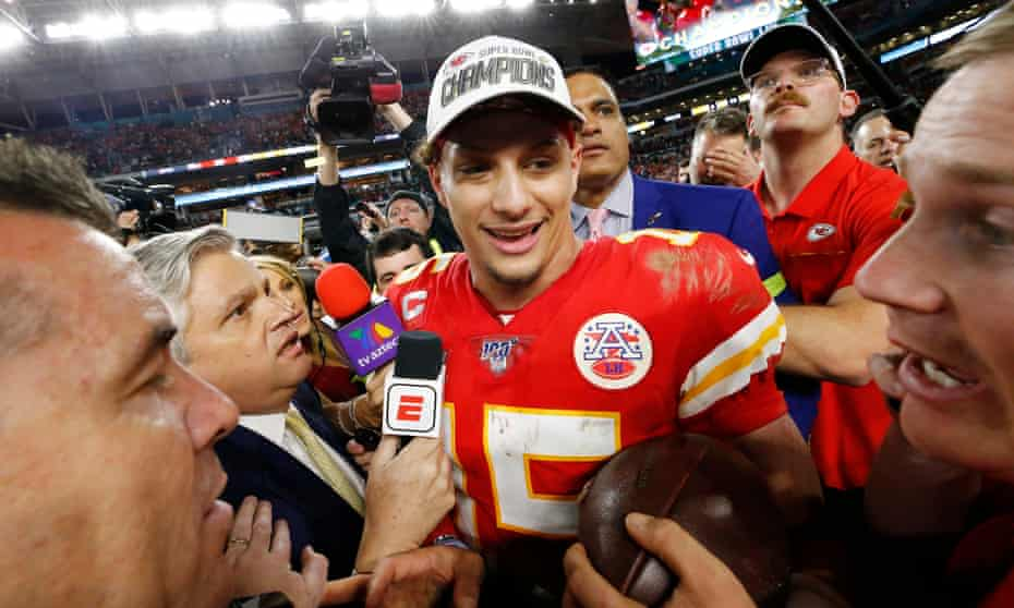 Patrick Mahomes celebrates his victory in last year's Super Bowl. He can win his second championship on Sunday