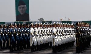 Chinese soldiers parade during Pakistan Day celebrations in Islamabad.