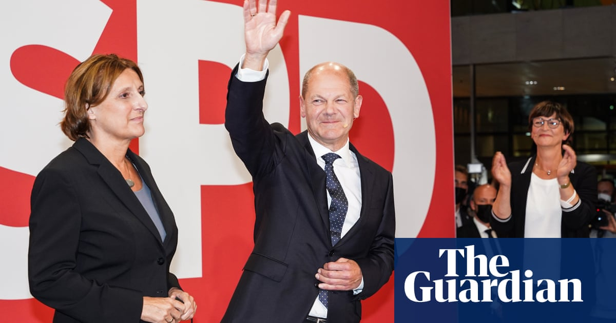 Olaf Scholz seeks three-way coalition after SPD's narrow German election win – video
