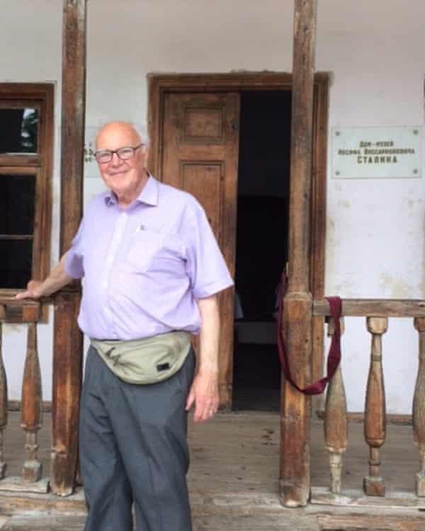 Michael Bourdeaux visiting Stalin's birthplace museum in Gori, Georgia, in 2017