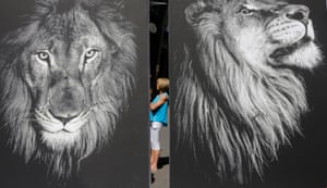 An animal rights activist stands between two huge placards during an anti canned lion hunting protest on the first day of CoP17 Cites in Johannesburg, South Africa