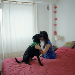 Sofia Pérez, 35, and her dog Antonia. She had an illegal abortion when she was 31.