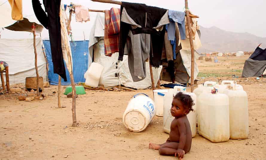 A Yemeni child in a  camp in Yemen's northwestern Hajjah province