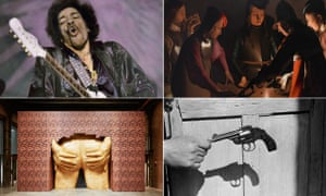 Clockwise from top left, Jimi Hendrix from You Say You Want a Revolution?, The Dice Players by Georges de la Tour from Beyond Caravaggio, Project for Door (After Gaetano Pesce) by Turner prize nominee Anthea Hamilton; and Mexico City by Enrique Metinides from ? The Image As Question.