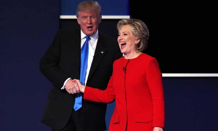 Hillary Clinton shakes hands with Republican presidential candidate Donald Trump on stage at the conclusion of the first presidential debate.
