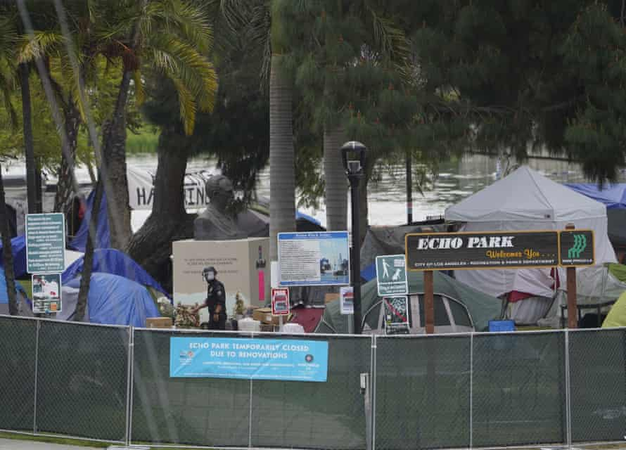 A fence was installed around Echo Park Lake after a confrontation between homeless advocates and Los Angeles police.