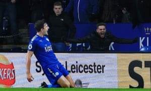 Harry Maguire scores Leicester City's 94th-minute equaliser.